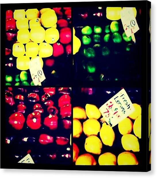 Fruit Baskets Canvas Print - Pike Place Market by Chris Fabregas