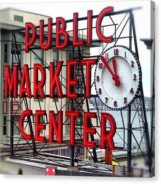 Seattle Canvas Print - Pike Place Market Clock by T Catonpremise