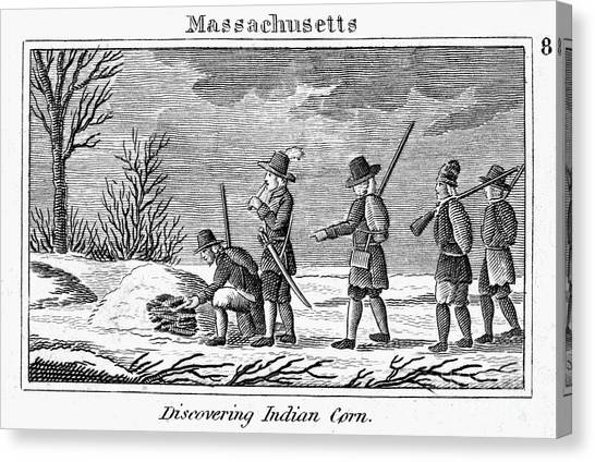 Indian Corn Canvas Print - Pilgrims: Native American Corn by Granger