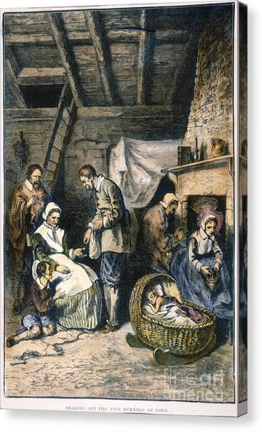 Indian Corn Canvas Print - Pilgrims Starving by Granger