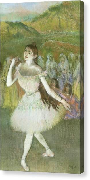Dance Ballet Roses Canvas Print - Pink Dancer  by Edgar Degas