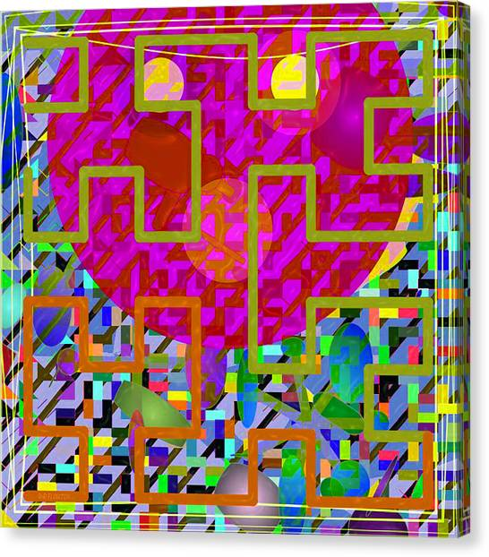 Canvas Print featuring the digital art Pink Face Maze by Dee Flouton