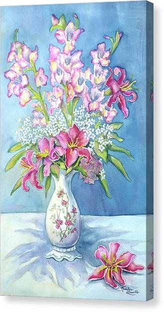 Pink Lillies In A Vase Canvas Print