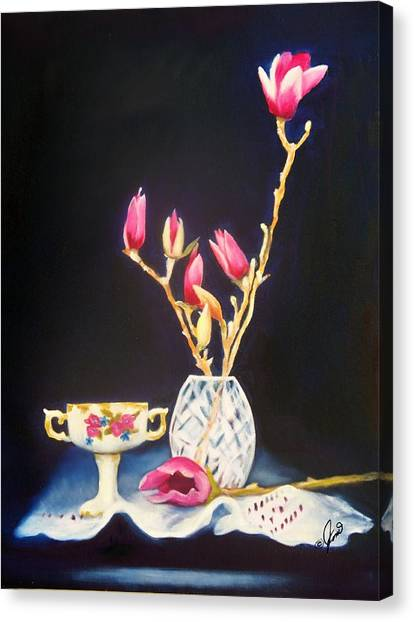Pink Magnolias Canvas Print by Joni McPherson