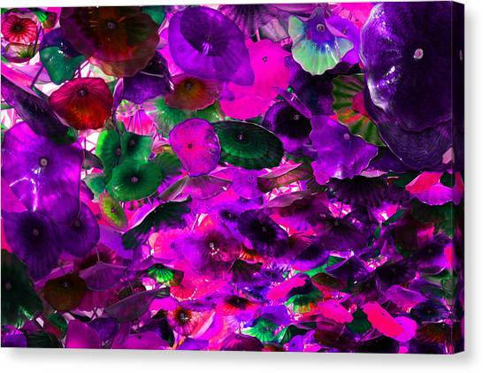 Pink Purple And Green Glass Flowers Canvas Print