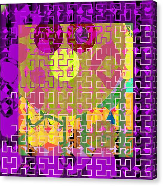 Canvas Print featuring the digital art Pink Puzzle Maze by Dee Flouton