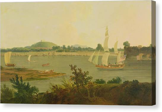Ganges Canvas Print - Pinnace Sailing Down The Ganges Past Monghyr Fort by Thomas Daniell