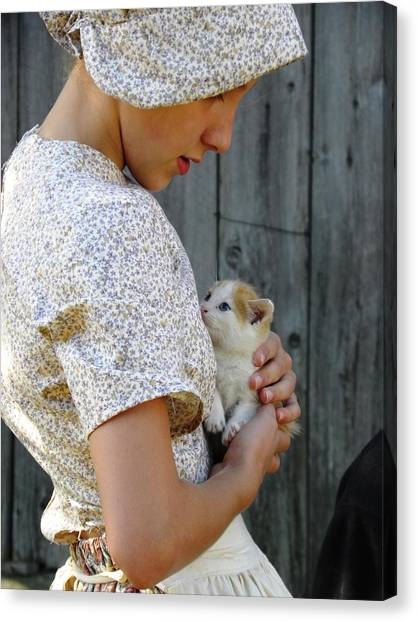 Pioneer Girl With Kitten Canvas Print
