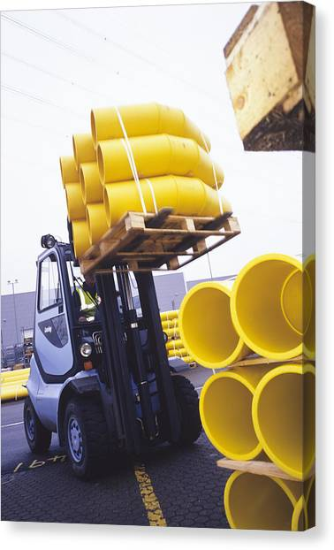 Forklifts Canvas Print - Pipeline Construction by Carlos Dominguez