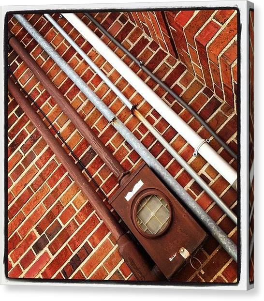 Steampunk Canvas Print - #pipes #brick #industrial #ikon by IKON Pennie