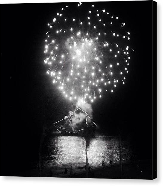 Mexican Canvas Print - Pirates & Fireworks In Puerto Vallarta by Natasha Marco