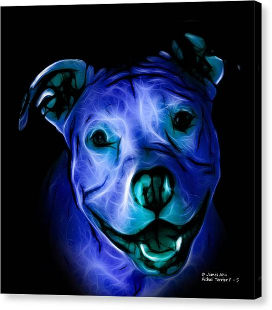 Pitbull Terrier - F - S - Bb - Blue Canvas Print