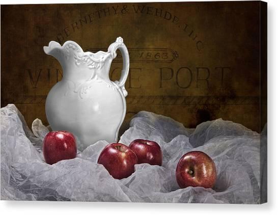 Apples Canvas Print - Pitcher With Apples Still Life by Tom Mc Nemar