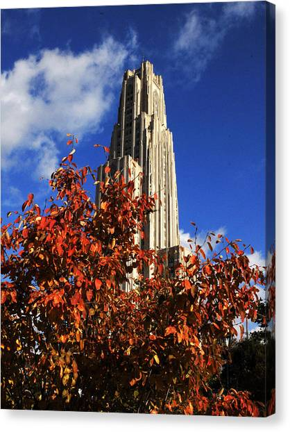 University Of Pittsburgh Canvas Print - Pittsburgh Autumn Leaves At The Cathedral Of Learning by Will Babin