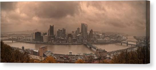 Pittsburgh Skyline 1 Canvas Print by Wade Aiken