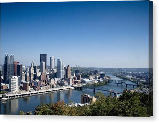 Pittsburgh Skyline And Allegheny River Canvas Print by Everett