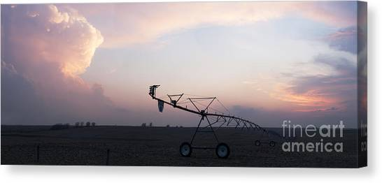 Pivot Irrigation And Sunset Canvas Print