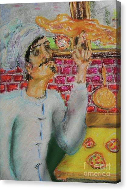 Pizza Chef Canvas Print by Emily Michaud