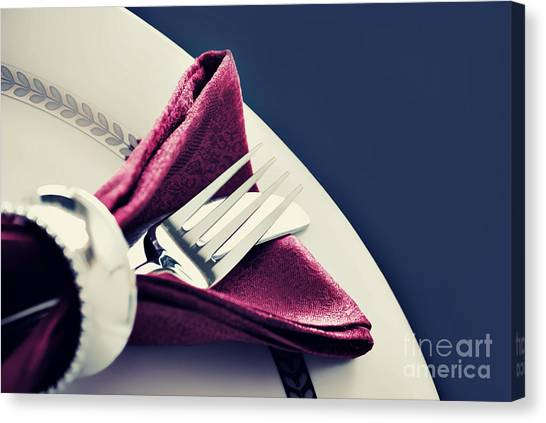 Dinner Table Canvas Print - Placesetting by HD Connelly