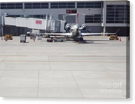 Air Traffic Control Canvas Print - Plane At Gate by Shannon Fagan