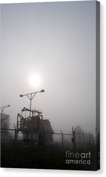 Platform At Petrocor In The Fog Canvas Print by Gary Chapple