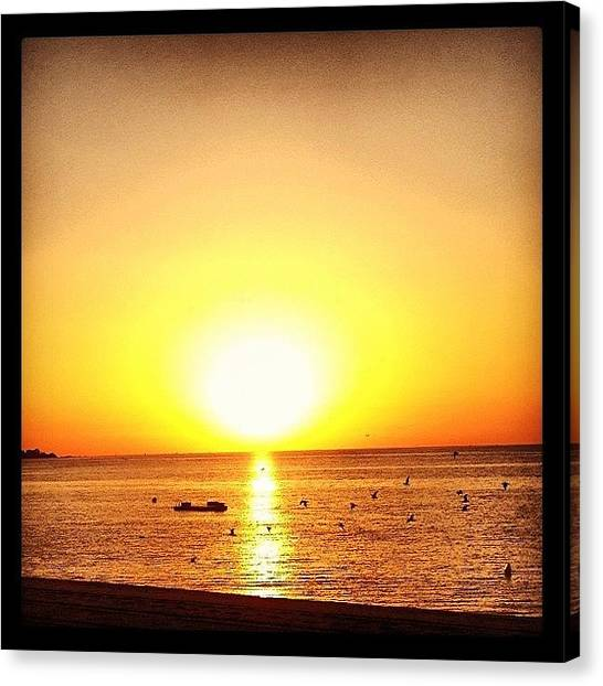 Beach Sunrises Canvas Print - #platjadaro #sunrise #amanecer #beach by Pau  Ridorsa