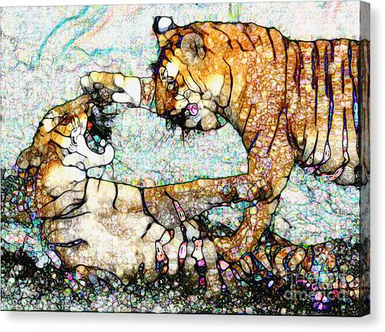Playing Bengals Canvas Print