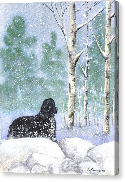Playing In The Blizzard Canvas Print