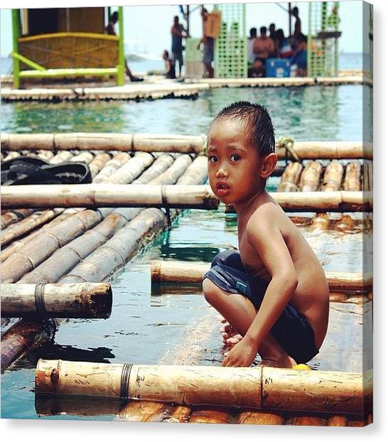 Bamboo Canvas Print - Playing On The Raft by Krystle Pagkalinawan