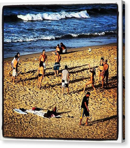 Volleyball Canvas Print - Playing Volleyball At The Beach by Luis Alberto