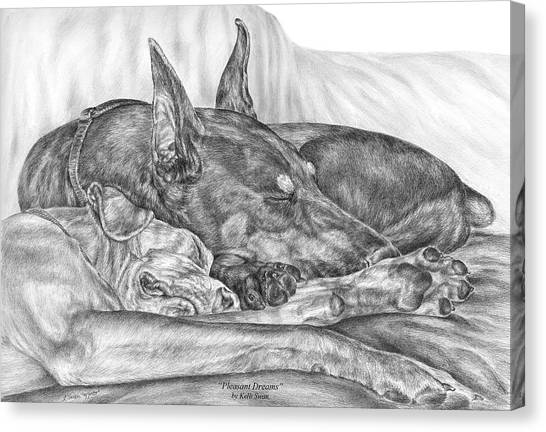 Pleasant Dreams - Doberman Pinscher Dog Art Print Canvas Print