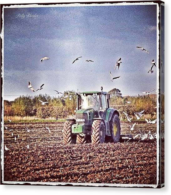 Farmers Canvas Print - Ploughing The Fields #plough #furrows by Polly Rhodes