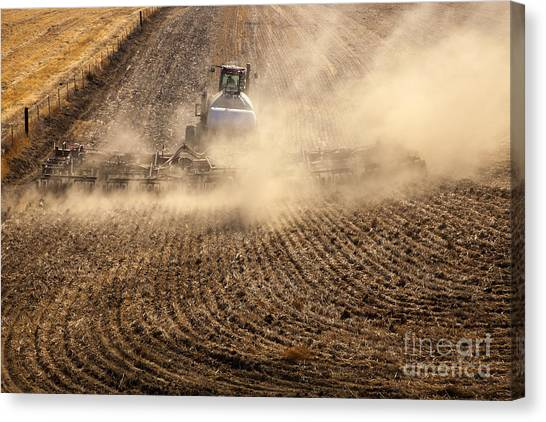 Tractors Canvas Print - Plowing The Ground by Mike  Dawson