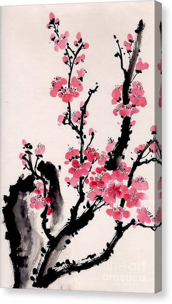 Plum Blossoms Iv Canvas Print