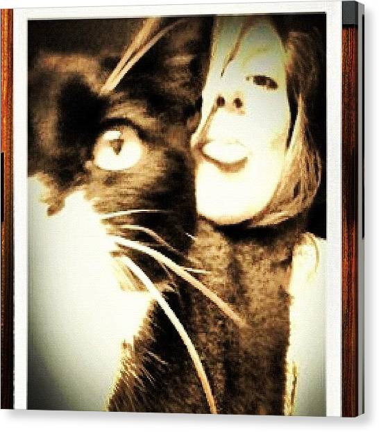 Tongue Canvas Print - #polaroid #faces #kitty #cat #instamood by Laura Hindle