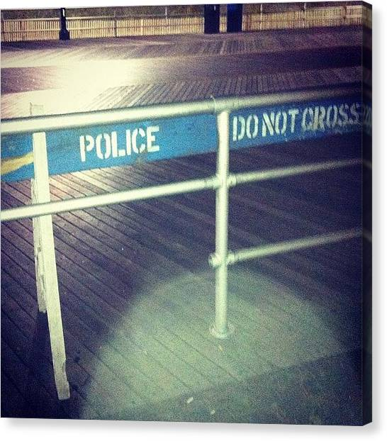 Law Enforcement Canvas Print - #police #do #not #cross #blue #white by Alex Mamutin