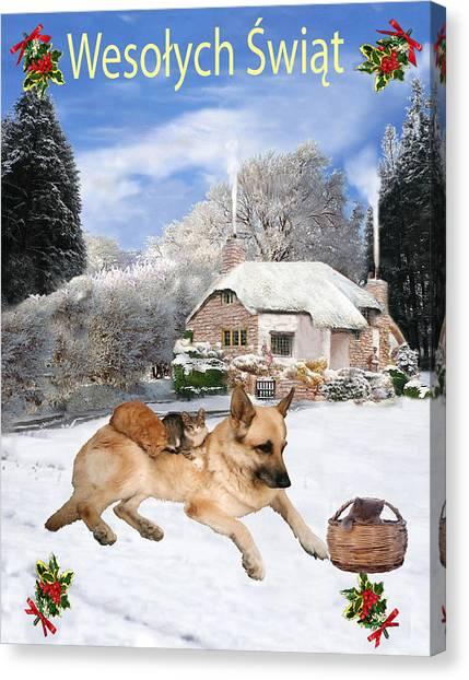 Polish German Shepherd Holiday Canvas Print