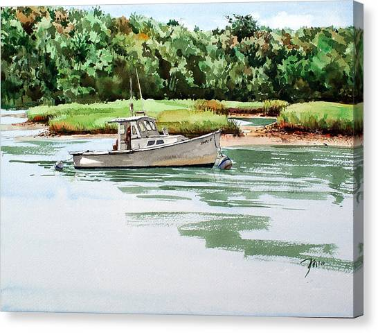 Polly C On The Mill River Canvas Print by Peter Sit