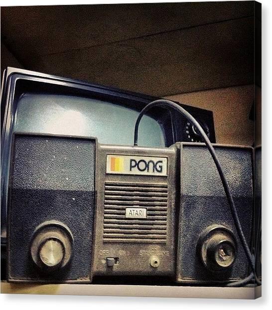 Atari Canvas Print - #pong. #videogames #atari #oldschool by Jorge Cibils