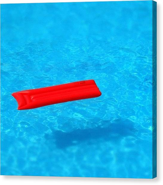 Swimming Canvas Print - Pool - Blue Water And Red Airbed by Matthias Hauser