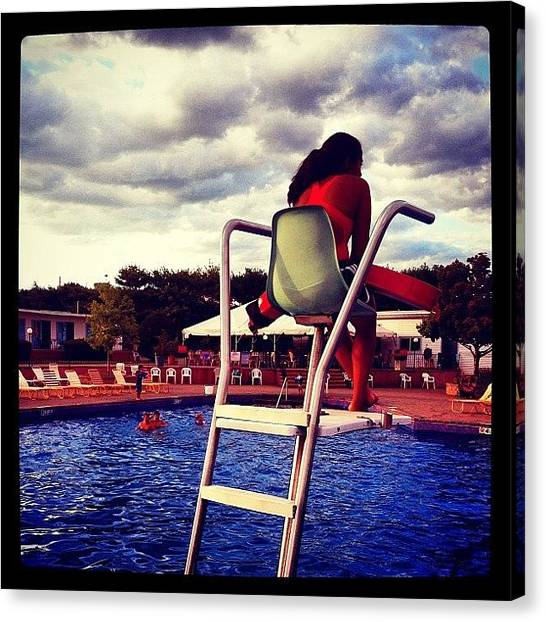 Lifeguard Canvas Print - Pool At Sunset, New Rochelle, Ny by Trey Rucker
