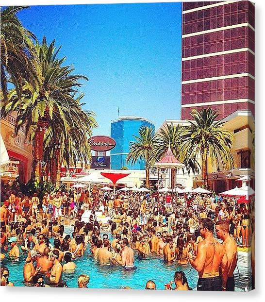 Nude Canvas Print - Pool Party At #encorehotel by Sebas Molina