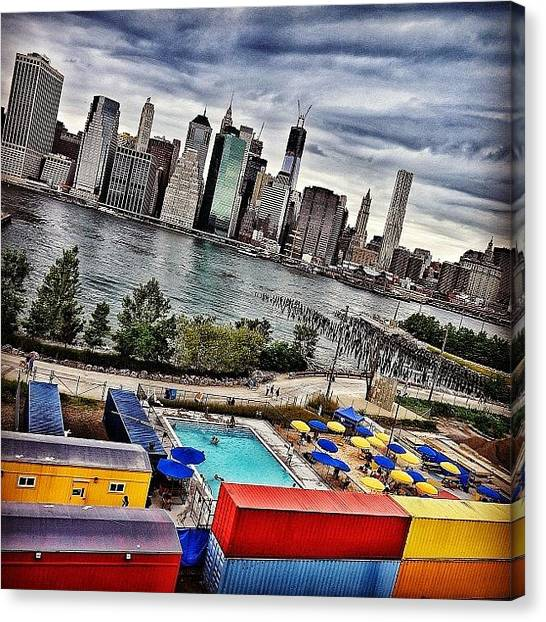 Yellow Canvas Print - Pool Time - New York by Joel Lopez