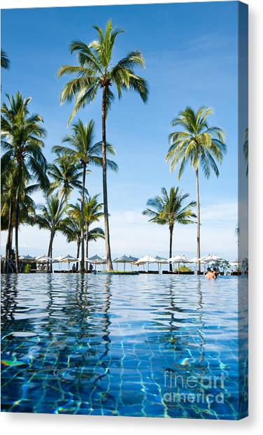 Islands Canvas Print - Poolside by Atiketta Sangasaeng