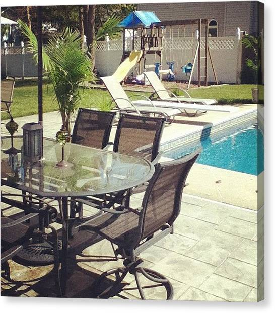 Tables Canvas Print - Poolside Fun by Kayla Mitchell