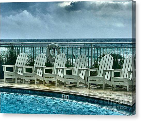 Aqua Condominiums Canvas Print - Poolside With A View by Julie Dant