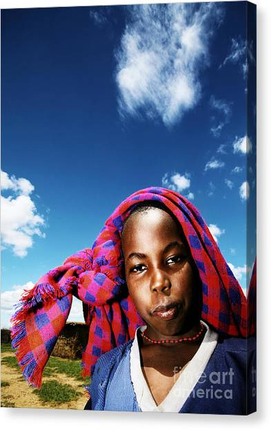 Poor African Child Outdoor Portrait Canvas Print by Anna Om
