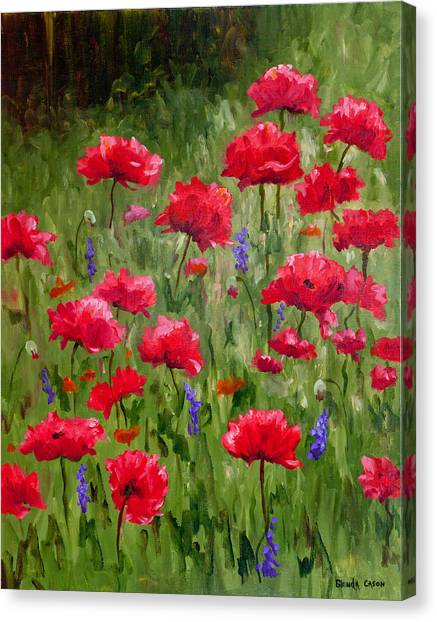 Poppies In A Meadow I Canvas Print
