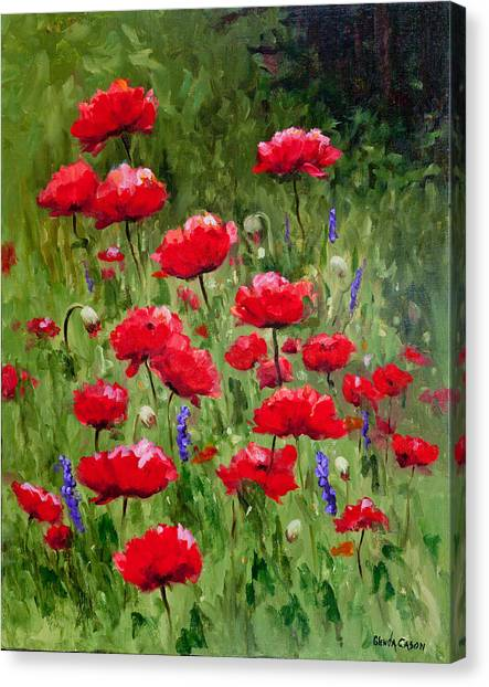 Poppies In A Meadow II Canvas Print