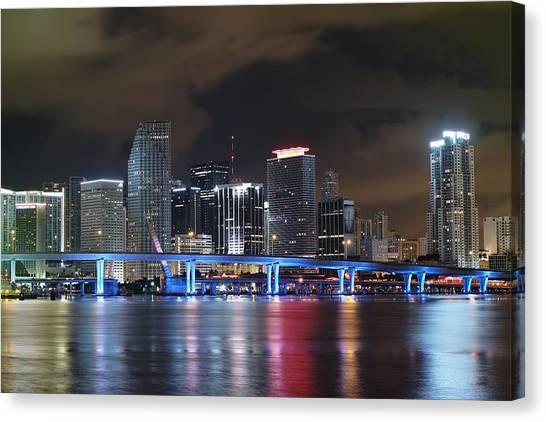 Port Of Miami Downtown Canvas Print